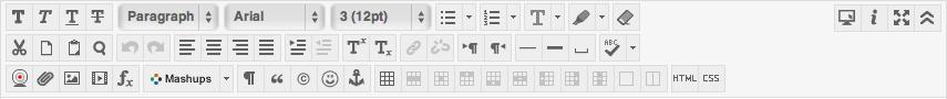 Blackboard's Text Editor toolbar